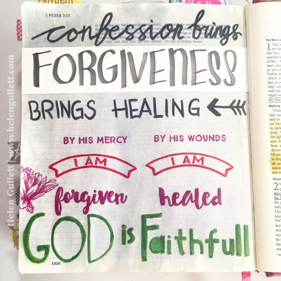 Gratitude Documented Bible Journaling Day 6: Forgiveness. 1 John 1:7-10 #illustratedfaith #gratitudedocumented #biblejournaling #latinacrafterstamps #beablessing #ctmh #FaberCastell #stampersbigbrushpens #pittsartistpens #eksuccesscalligraphypens #creatingjoyfully #LampAndLight