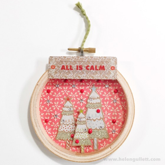 All Is Calm | DIY Mini Christmas Embroidery Hoop Art #ctmh #ctmhwhitepines #whitepines #diy #handmade #embroideryhoopart #papercrafting #christmas #ornament #homedecor #giftidea #creatingjoyfully