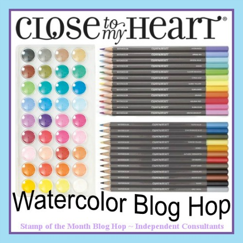 New Close To My Heart Blog Hop featuring watercolor pencils and paints - 30 projects to inspire you to create! http://wp.me/p1DmW0-2eT #ctmh #watercoloring #handmadecard #cardmaking #notecard #papercrafting #diy