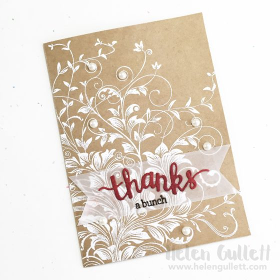 Leavy Vines Thank You Card with Hero Arts Cling Stamp and Stamp & Cuts set