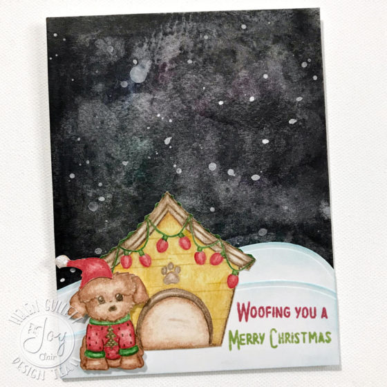 No-Line Coloring Dog Gone Christmas Card With Joy Clair
