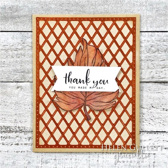 I have couple fall cards with gold and bronze colors. More details on my blog https://helengullett.com/?p=15630  Thank you!