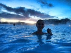 Enjoying the hot water