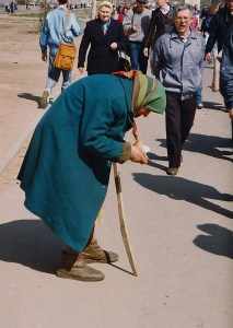 Begging for rubles on Moscow's main street. (Moscow, Russia 1992)