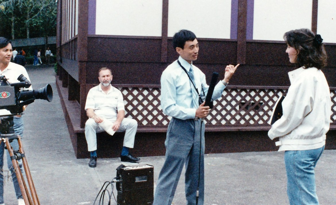 """Chinese TV interviews me for """"Son of Heaven"""" exhibit, 1988 (Seattle)."""