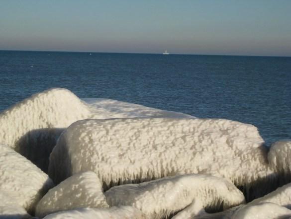 Lake Michigan's rocks, enrobed in ice. (Racine, Wisconsin)