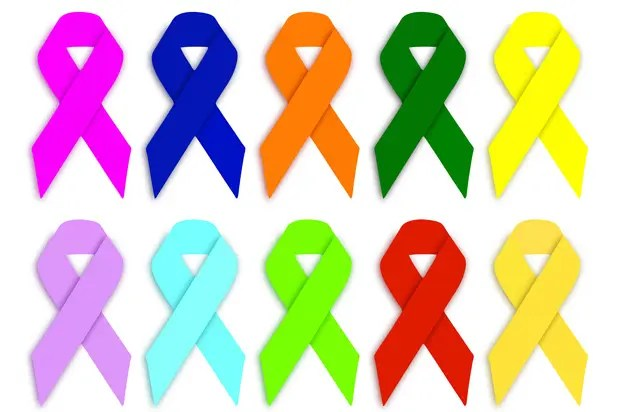Sadly, each ribbon color represents a different cancer – and these are just a few <br data-recalc-dims=