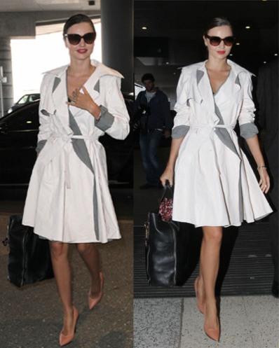 Lanvin shoes,white trench dress,airport style, Mirande Kerr,Chloe bag,Louis Vuitton charm,helenhou, helen hou, the art of accessorizing, accessoriseart, celebrity style, street style,