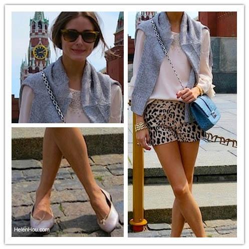 The Art of Accessorizing-HelenHou.com-Olivia Palermo in Tibi leopard shorts