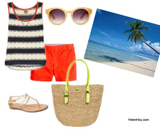 4th July, beach look,red shorts,neon shorts,striped tee,circle sunglasses,madewell, j.crew, spring 2012 runway,9to5chic,missrenaissance MARC BY MARC JACOBS,stripe top,peplum top, helenhou, helen hou, the art of accessorizing, accessoriseart, lookbook, looks for less, fashion, style, outfits, fashion guru, style guru, fashion stylist, what to wear,designer cloth