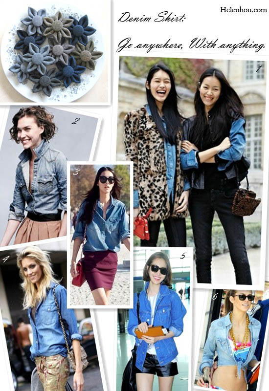 Denim shirt,chambray shirt, model off duty look, street style,Sui He,Liu Wen,Arizona Muse,Anja Rubik,Jun-hee Ko,Annalynne Mccord  helenhou, helen hou, the art of accessorizing,   accessoriseart, celebrity style, street style,   lookbook, model off-duty,red carpet looks,red   carpet looks for less, fashion, style, outfits,   fashion guru, style guru, fashion stylist, what to   wear, fashion expert, blogger, style blog, fashion   blog,look of the day, celebrity look,celebrity   outfit,designer shoes, designer cloth,designer   handbag,