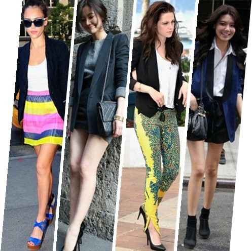 what to wear with black blaze, what to wear with navy blazer, Jessica Alba, Chinese Actress Gao Yuanyuan, Kristen Stewart, Korean singer Choi Soo Young,  MARC JACOBS 'Antonia' Leather yellow Satchel , Elle Laurie multi color skirt, Ralph Lauren cobalt sandals, white tee shirt,Thierry Lasry sunglasses,  Balenciaga by Nicolas Ghesquière bold printed pants, Juicy Couture white shirt,Rebecca Minkoff black Becky jacket,black pumps,black booties,leather shorts,  helenhou, helen hou, the art of accessorizing, accessoriseart, celebrity style, street style, lookbook, model off-duty,red carpet looks,red carpet looks for less, fashion, style, outfits, fashion guru, style guru, fashion stylist, what to wear, fashion expert, blogger, style blog, fashion blog,look of the day, celebrity look,celebrity outfit,designer shoes, designer cloth,designer handbag,