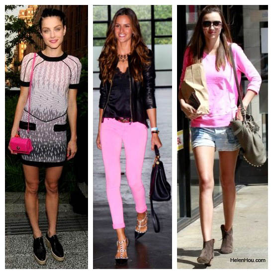 Jessica stam, Izabel Goulart,Mirande Kerr,neon pink, Versus dress, Pierre Hardy shoes,Coach pink bag, Rag & Bone pink jeans,Valentino stud shoes,Hermès bag, Hermès belt, Monrow sweatershirt,Isabel Marant shorts,Isabel Marant ankle boots,Alexander Wang bag,bucket bag, Dita sunglasses,aviator sunglasses,spring 2012 runway,pink shirt,helenhou, helen hou, the art of accessorizing, accessoriseart, celebrity style, street style,