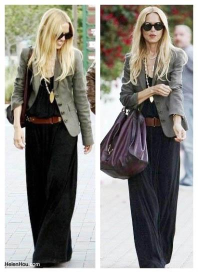Rachel Zoe,blazer, black maxi dress,model off-duty,  helenhou, helen hou, the art of accessorizing,   accessoriseart, celebrity style, street style,   lookbook,