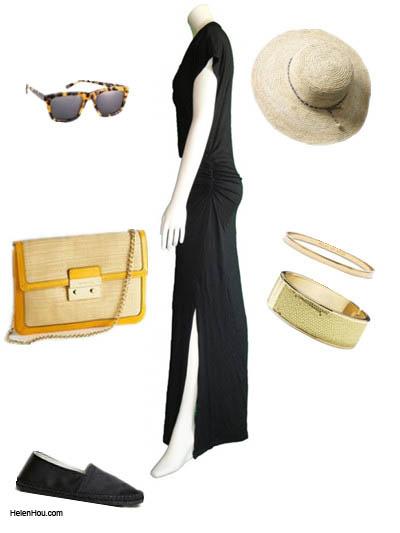 look for less,  Jessica Hart, black maxi dress,model off-duty,  helenhou, helen hou, the art of accessorizing,   accessoriseart, celebrity style, street style,   lookbook,