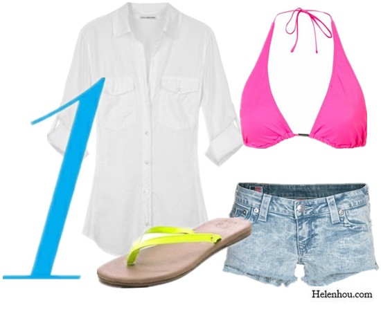 summer outfit, what to wear when relaxing, weekend look,gym outfit,mens wear, how to wear men's clothes, wear boyfriend's clothes,relaxed look,  Topshop bikini,neon bikini,hot pink bikini,bikini look,James Perse white shirt,boyfriend white shirt,oversize white shirt,True Religion denim short,Gorjana shoes,flip flops,yellow flip flop,   helenhou, helen hou, the art of accessorizing, accessoriseart, celebrity style, street style, lookbook, model off-duty,red carpet looks,red carpet looks for less, fashion, style, outfits, fashion guru, style guru, fashion stylist, what to wear, fashion expert, blogger, style blog, fashion blog,look of the day, celebrity look,celebrity outfit,designer shoes, designer cloth,designer handbag,