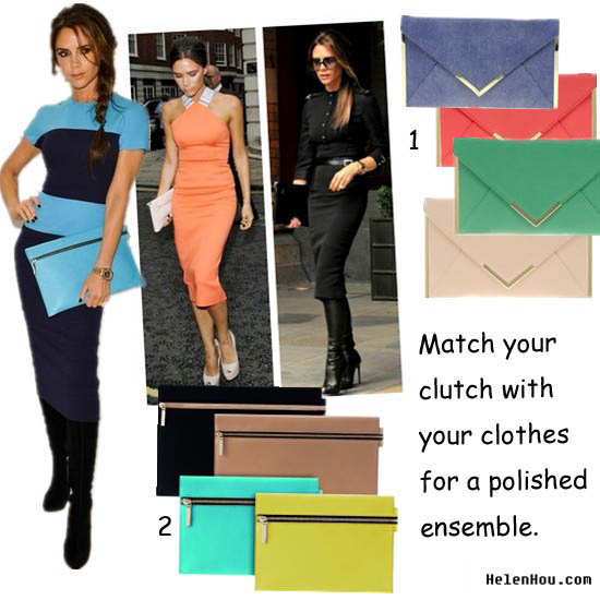 Victoria Beckham Leather pouch clutch,Victoria Beckham zip up clutch,envelope clutch, Victoria Beckham collection,Victoria Beckham orange dress,Victoria Beckham blue dress,asos,ASOS Metal Bar Detail Envelope Clutch Victoria Beckham peep toe boots,  helenhou, helen hou, the art of accessorizing, accessoriseart, celebrity style, street style, lookbook, model off-duty,red carpet looks,red carpet looks for less, fashion, style, outfits, fashion guru, style guru, fashion stylist, what to wear, fashion expert, blogger, style blog, fashion blog,look of the day, celebrity look,celebrity outfit,designer shoes, designer cloth,designer handbag,