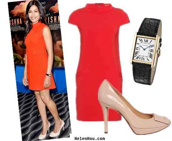 Freida Pinto,red carpet look,look for less, Alice + Olivia dress,orange poket dress,Roger Vivier shoes,Cartier watch,Limelight Patent Pumps,Raoul dress   helenhou, helen hou, the art of accessorizing, accessoriseart, celebrity style, street style, lookbook, model off-duty,red carpet looks,red carpet looks for less, fashion, style, outfits, fashion guru, style guru, fashion stylist, what to wear,