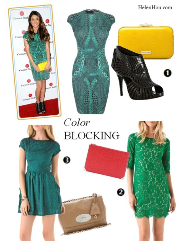 Nikki Reed,green printed dress, how to wear a dark green printed dress, accessories green dress, yellow clutch, yellow bag, envolope clutch, color blocking,Alexander McQueen DARK JEWELS GREEN CABLE CAP SLEEVE DRESS, Rebecca Minkoff Lizard Embossed Minaudière,Christian Dior black strappy leather peep toe booties,Robert Rodriguez Lace Shift Dress,Alexander Wang Prisma Embossed Ostrich Flat Clutch,Kenny green Open Back Dress with Pockets,Mulberry lily shoulder bag,helenhou, helen hou, the art of accessorizing, accessoriseart, celebrity style, street style, lookbook, model off-duty,red carpet looks,red carpet looks for less, fashion, style, outfits, fashion guru, style guru, fashion stylist, what to wear, fashion expert, blogger, style blog, fashion blog,look of the day, celebrity look,celebrity outfit,designer shoes, designer cloth,designer handbag,