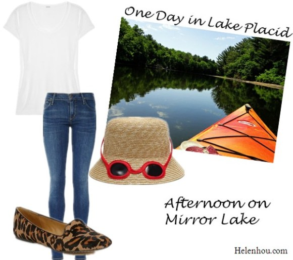 Splendid white tee, Citizens of Humanity skinny jeans,Nine West leopard loafer,Kate Spade straw hat ,wardrobe essential,Weekend Getaway,lake placid, mirror lake,main street, kayaking, hiking, helenhou, helen hou, the art of accessorizing, accessoriseart, celebrity style, street style, lookbook, model off-duty,red carpet looks,red carpet looks for less, fashion, style, outfits, fashion guru, style guru, fashion stylist, what to wear, fashion expert, blogger, style blog, fashion blog,look of the day, celebrity look,celebrity outfit,designer shoes, designer cloth,designer handbag,
