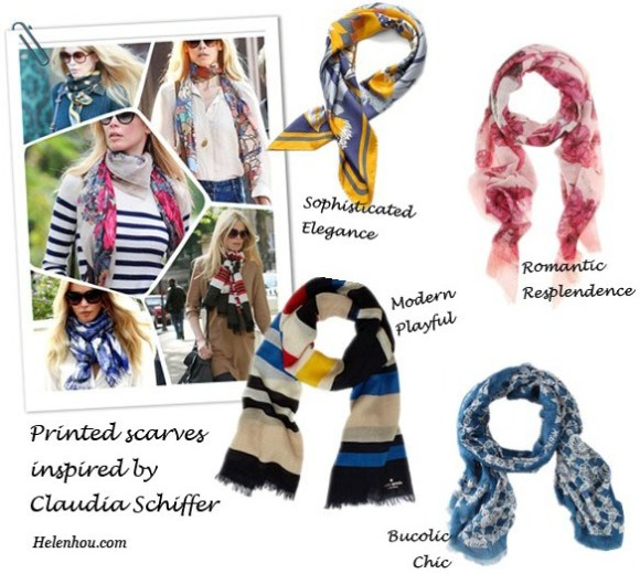 Claudia Schiffer, fashion icon, street style,early fall outfit, how to wear a printed scarf,chole sunglasses,white blouse,floral scarf, cashmere sweater, Tory Burch scarf, Alexander McQueen scarf, Marc by Marc Jacobs scarf,  Kate Spade scarf,   helenhou, helen hou, the art of accessorizing, accessoriseart, celebrity style, street style, lookbook, model off-duty,red carpet looks,red carpet looks for less, fashion, style, outfits, fashion guru, style guru, fashion stylist, what to wear, fashion expert, blogger, style blog, fashion blog,look of the day, celebrity look,celebrity outfit,designer shoes, designer cloth,designer handbag,