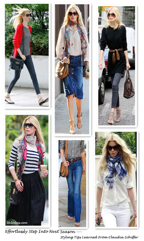 Mulberry bag, Yves Saint Laurent bag,Claudia Schiffer, fashion icon, street style,early fall outfit, how to wear a printed scarf,chloe flats, chloe sunglasses, Christian Louboutin leopard pumps,Alejandro Ingelmo ankle strap wedge sandals,jimmy choo sandals,Dolce & Gabbana bag,stripe tee, wide leg jeans,white blouse,floral scarf, denim skrit, red cardigan, skinny jeans,long cashmere sweater dress, helenhou, helen hou, the art of accessorizing, accessoriseart, celebrity style, street style, lookbook, model off-duty,red carpet looks,red carpet looks for less, fashion, style, outfits, fashion guru, style guru, fashion stylist, what to wear, fashion expert, blogger, style blog, fashion blog,look of the day, celebrity look,celebrity outfit,designer shoes, designer cloth,designer handbag,