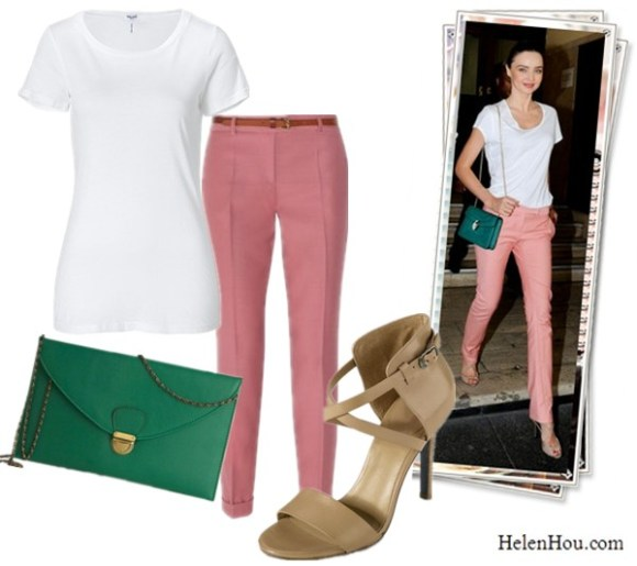 Miranda Kerr street style,Miranda Kerr in pink pants,how to wear peachy or pink pants,Splendid white Jersey tee shirt,MOSCHINO CHEAP AND CHIC peachy pink wool pants,Cole Haan sandals,kelly green clutch,   helenhou, helen hou, the art of accessorizing, accessoriseart, celebrity style, street style, lookbook, model off-duty,red carpet looks,red carpet looks for less, fashion, style, outfits, fashion guru, style guru, fashion stylist, what to wear, fashion expert, blogger, style blog, fashion blog,look of the day, celebrity look,celebrity outfit,designer shoes, designer cloth,designer handbag,