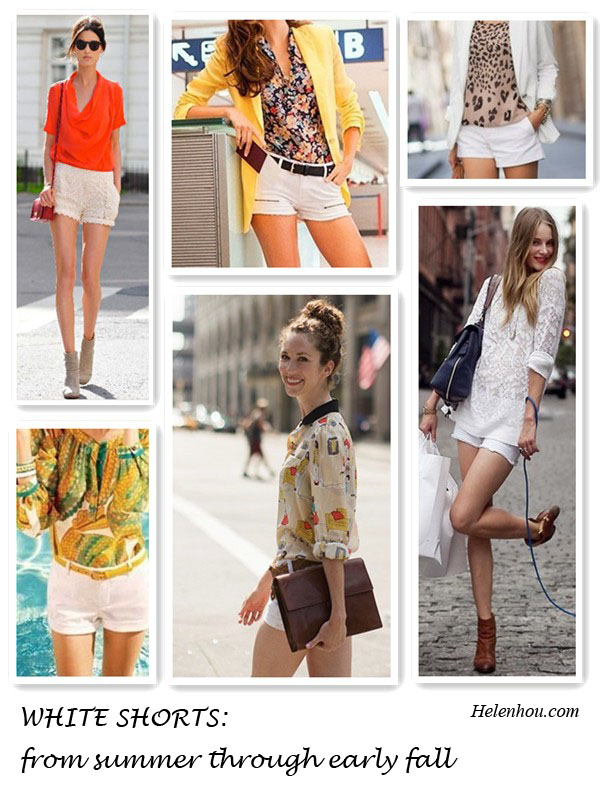 what to wear with summer white shorts,Hanneli Mustaparta,Mango lookbook,Wendy,Ieva Laguna,Laura and Banana Republic look,lace shorts, orange top, printed blouse, mango yellow blazer,zara white blazer, ankle booties,  helenhou, helen hou, the art of accessorizing, accessoriseart, celebrity style, street style, lookbook, model off-duty,red carpet looks,red carpet looks for less, fashion, style, outfits, fashion guru, style guru, fashion stylist, what to wear, fashion expert, blogger, style blog, fashion blog,look of the day, celebrity look,celebrity outfit,designer shoes, designer cloth,designer handbag,