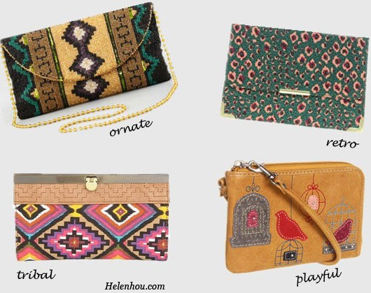 sequined clutch, tribal clutch, leopard clutch, floral clutch, graffiti clutch, Moyna southwestern beaded clutch, Asos spot animal clutch, Fossil ruby wristlet, Naturalizer wallet , helenhou, helen hou, the art of accessorizing, accessoriseart, celebrity style, street style, lookbook, model off-duty,red carpet looks,red carpet looks for less, fashion, style, outfits, fashion guru, style guru, fashion stylist, what to wear, fashion expert, blogger, style blog, fashion blog,look of the day, celebrity look,celebrity outfit,designer shoes, designer cloth,designer handbag,