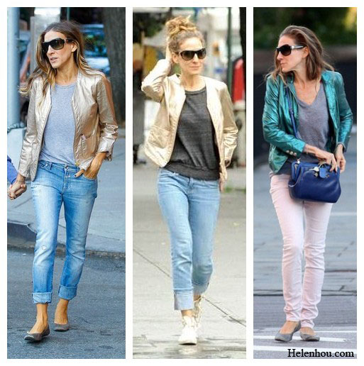 Sarah Jessica Parker street style, recreate celebrity style,metallic jacket, boyfriend jeans, sneakers, pink skinny jeans, grey shirt,  helenhou, helen hou, the art of accessorizing, accessoriseart, celebrity style, street style, lookbook, model off-duty,red carpet looks,red carpet looks for less, fashion, style, outfits, fashion guru, style guru, fashion stylist, what to wear, fashion expert, blogger, style blog, fashion blog,look of the day, celebrity look,celebrity outfit,designer shoes, designer cloth,designer handbag,