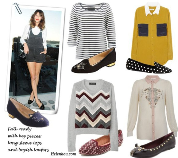 Alexa Chung street style, Alexa Chung Charlotte Olympia loafer, Alexa Chung quilted chain strap Chanel bag, Alexa Chung denim jump shorts, Charlotte Olympia web loafers,   Maison Scotch nautical stripe shirt, Equipment color block blouse ,Gap polka dot loafers, Miss Selfridge silk embellished shirt, Marc by Marc Jacobs studded flats, Rag & Bone zig zag Kari sweater,Jeffrey Campbell Martini Suede loafers, helenhou, helen hou, the art of accessorizing, accessoriseart, celebrity style, street style, lookbook, model off-duty,red carpet looks,red carpet looks for less, fashion, style, outfits, fashion guru, style guru, fashion stylist, what to wear, fashion expert, blogger, style blog, fashion blog,look of the day, celebrity look,celebrity outfit,designer shoes, designer cloth,designer