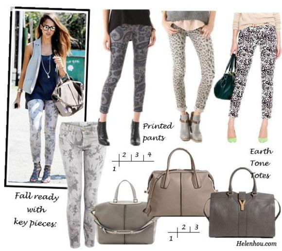 Jessica Alba, printed jeans, printed pants, Current Elliott printed jeans, Citizens of Humanity leopard print jeans, Current/Elliott leopard print jeans, J.Crew animal print pant,  Earth tone totes, CLASSIC MIKY LEATHER TOTE,Tod's 'D-Styling' Leather Satchel, Yves Saint Laurent 'Cabas Chyc' Leather Satchel,helenhou, helen hou, the art of accessorizing, accessoriseart, celebrity style, street style, lookbook, model off-duty,red carpet looks,red carpet looks for less, fashion, style, outfits, fashion guru, style guru, fashion stylist, what to wear, fashion expert, blogger, style blog, fashion blog,look of the day, celebrity look,celebrity outfit,designer shoes, designer cloth,designer handbag,