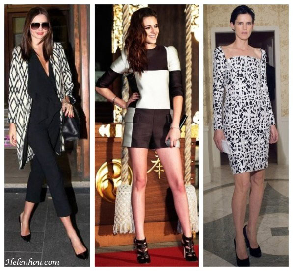 Miranda Kerr, Kristen Stewart,Stella Tennan,Valentino Grande Lock Bag,Manolo Blahnik Tortoise Patent Leather Pump,Tucker printed coat,Givenchy shirt,Louis Vuitton and Brian Atwood shoes,Versace dress,black and white, how to wear black and white, helenhou, helen hou, the art of accessorizing, accessoriseart, celebrity style, street style, lookbook, model off-duty,red carpet looks,red carpet looks for less, fashion, style, outfits, fashion guru, style guru, fashion stylist, what to wear, fashion expert, blogger, style blog, fashion blog,look of the day, celebrity look,celebrity outfit,designer shoes, designer cloth,designer handbag,