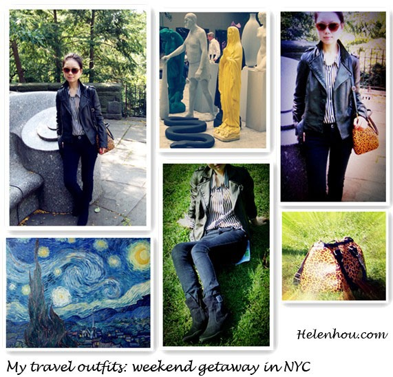 Travel Outfits,Weekend Getaway In NYC, what to wear when travel,,ASOS Leather Look Quilted Biker Jacket,Forever21 striped blouse, SplendidOatmeal Stripe Tank ,  DL1961Emma Legging Jeans ,Aerosoles black suede Booties,H&M leopard bag, Garrett Leight Hampton Polarizen sunglasses, Yves Saint Laurent 'Contemporary Amazon' La Laque Couture Nail Lacquer rouge expressioniste,red nail polish, helenhou, helen hou, the art of accessorizing, accessoriseart, celebrity style, street style, lookbook, model off-duty,red carpet looks,red carpet looks for less, fashion, style, outfits, fashion guru, style guru, fashion stylist, what to wear, fashion expert, blogger, style blog, fashion blog,look of the day, celebrity look,celebrity outfit,designer shoes, designer cloth,designer handbag,