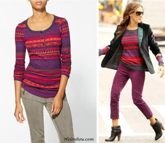 Splendid Top - Breckenridge Fairisle Henley ,  Choi Soo Young, Yoon Soy,Sarah Jessica Parker,printed sweater, patterned sweater, boyfriend jeans, ankle booties, purple jeans,Splendid Breckenridge Thermal Top, how to wear colored jeans, how to wear patterned sweater,  helenhou, helen hou, the art of accessorizing, accessoriseart,   celebrity style, street style, lookbook, model off-duty,red carpet   looks,red carpet looks for less, fashion, style, outfits, fashion   guru, style guru, fashion stylist, what to wear, fashion expert,   blogger, style blog, fashion blog,look of the day, celebrity   look,celebrity outfit,designer shoes, designer cloth,designer   handbag,