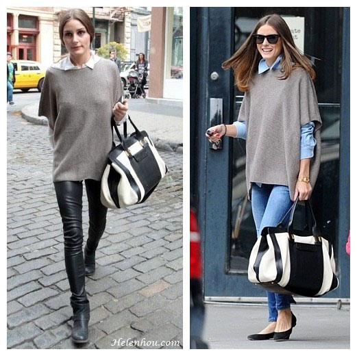olivia palermo, white shirt, denim shirt, leather pants, Chloe Alice Springs Large Handbag in Husky White,Vince Short Sleeve Poncho - Sand size Small, how to wear short sleeve sweater, helenhou, helen hou, the art of accessorizing, accessoriseart, celebrity style, street style, lookbook, model off-duty,red carpet looks,red carpet looks for less, fashion, style, outfits, fashion guru, style guru, fashion stylist, what to wear, fashion expert, blogger, style blog, fashion blog,look of the day, celebrity look,celebrity outfit,designer shoes, designer cloth,designer handbag,