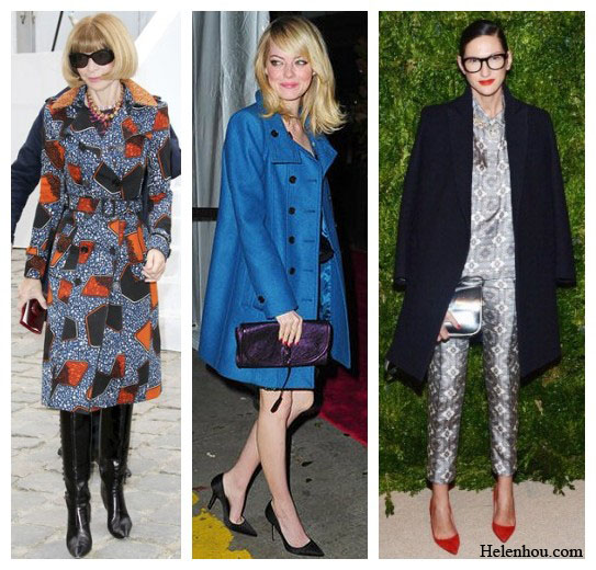 Anna Wintour, Emma Stone,Jenna Lyons, printed coat, cobalt blue coat, oversized coat,  Holiday Party Outfit Ideas For Women Of Different Ages,winter wardrobe essential, helenhou, helen hou, the art of accessorizing, accessoriseart, celebrity style, street style, lookbook, model off-duty,red carpet looks,red carpet looks for less, fashion, style, outfits, fashion guru, style guru, fashion stylist, what to wear, fashion expert, blogger, style blog, fashion blog,look of the day, celebrity look,celebrity outfit,designer shoes, designer cloth,designer handbag,