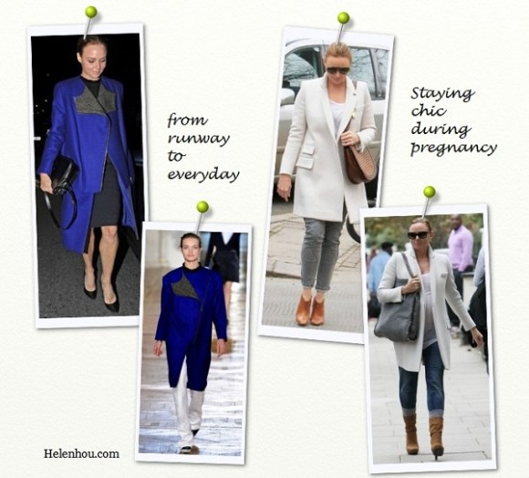 Stella Mccartney,pregnant style, from runway to street, winter coat, white coat, red coat, blue coat, stella mccartney collection, how to wear winter coat, how to wear colored coat, how to accessorizies coat,   helenhou, helen hou, the art of accessorizing, accessoriseart, celebrity style, street style, lookbook, model off-  duty,red carpet looks,red carpet looks for less, fashion, style, outfits, fashion guru, style guru, fashion stylist, what   to wear, fashion expert, blogger, style blog, fashion blog,look of the day, celebrity look,celebrity outfit,designer   shoes, designer cloth,designer handbag,
