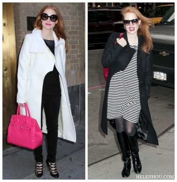 Jessica Chastain,holiday get away outfit, black and white, resort look, white coat, pink leather bag, black ensemble, striped dress, black coat, black patent leather boots,red leather bag, sunglasses, how to accessorize black and white,    helenhou, helen hou, the art of accessorizing, accessoriseart, celebrity style, street style,   lookbook, model off-duty,red carpet looks,red carpet looks for less, fashion, style, outfits,   fashion guru, style guru, fashion stylist, what to wear, fashion expert, blogger, style blog,   fashion blog,look of the day, celebrity look,celebrity outfit,designer shoes, d	esigner   cloth,designer handbag,