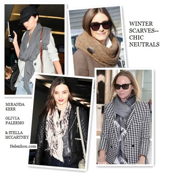 Miranda Kerr, Olivia Palermo , Stella McCartney,winter scarf, how to wear a winter scarf, how to choose scarf, grey scarf, brown infinity scarf,  Stella McCartney printed scarf, houndstooth printed jacket, silk square scarf,     helenhou, helen hou, the art of accessorizing, accessoriseart, celebrity style, street style, lookbook, model off-duty,red carpet looks,red carpet looks for less, fashion, style, outfits, fashion guru, style guru, fashion stylist, what to wear, fashion expert, blogger, style blog, fashion blog,look of the day, celebrity look,celebrity outfit,designer shoes, designer cloth,designer handbag,