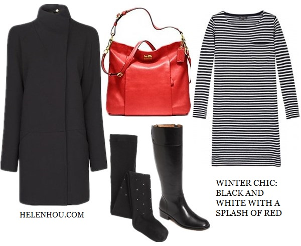 Jessica Chastain,holiday get away outfit, black and white, resort look, white coat, pink leather bag, black ensemble, striped dress, black coat, black patent leather boots,red leather bag, sunglasses, how to accessorize black and white, MANGOMinimal style coat ,  A.P.C.Knitted Stripe Boatneck Dress ,  Corso Como 'Samual' Boot ,  CoachCoach - Madison Leather Isabelle Sv/black,   helenhou, helen hou, the art of accessorizing, accessoriseart, celebrity style, street style,   lookbook, model off-duty,red carpet looks,red carpet looks for less, fashion, style, outfits,   fashion guru, style guru, fashion stylist, what to wear, fashion expert, blogger, style blog,   fashion blog,look of the day, celebrity look,celebrity outfit,designer shoes, designer   cloth,designer handbag,