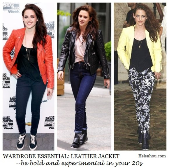 Kristen Stewart, leather jacket, wardrobe essential, how to wear colored leather jacket, red leather jacket, black leather jacket, yellow lemon leather jacket, what to wear with leather jacket,     helenhou, helen hou, the art of accessorizing, accessoriseart, celebrity style, street style, lookbook, model off-duty,red carpet looks,red carpet looks for less, fashion, style, outfits, fashion guru, style guru, fashion stylist, what to wear, fashion expert, blogger, style blog, fashion blog,look of the day, celebrity look,celebrity outfit,designer shoes, designer cloth,designer handbag,