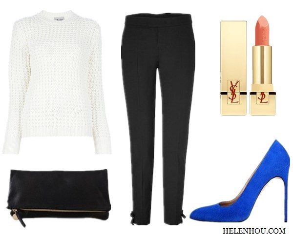 <br />Olivia Palermo, Constance Jablonski ,Anja Rubik, black and white, white silk bouse, black leather pants, gold watch, white sweater, black pants, polka dot ankle strap shoes, black jumpsuit, white tuxedo blazer, embellished belt, how to accessories black and white, what to wear with black, holiday party outfit idea,<br />ACNE 'Lina Pinapple' sweater ,<br />RED Valentino Ankle Bow Pants ,<br />Yves Saint Laurent 'Rouge Pur Couture' Lip Color SPF 15,<br />Manolo BlahnikBB Suede Point-Toe Pumps,<br />Clare VivierCLARE VIVIER Fold Over Clutch,<br />helenhou, helen hou, the art of accessorizing, accessoriseart, celebrity style, street style, lookbook, model off-duty,red carpet looks,red carpet looks for less, fashion, style, outfits, fashion guru, style guru, fashion stylist, what to wear, fashion expert, blogger, style blog, fashion blog,look of the day, celebrity look,celebrity outfit,designer shoes, designer cloth,designer handbag,
