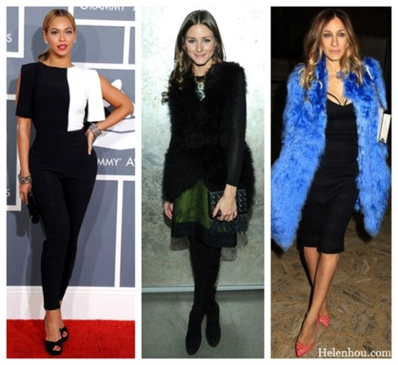 Beyoncé, Olivia Palermo ,Sarah Jessica Parker,what to wear with black, how to wear black and white, blue and coral,2013 Grammy Awards,monochrome look,black and white jumpsuit,Swarovski clutch ,geometric cuffs, New York Fashion Week AW13 debut,New York Fashion Week AW13 debut,faux fur vest, metallic skirt, knee-high suede boots , tassel clutch bag,statement necklace,cut-out L'Agence little black dress, Misha Nonoo furry blue coat,coral Christian Louboutin heels, white chain handbag, helenhou, helen hou, the art of accessorizing, accessoriseart, celebrity style, street style, lookbook, model off-duty,red carpet looks,red carpet looks for less, fashion, style, outfits, fashion guru, style guru, fashion stylist, what to wear, fashion expert, blogger, style blog, fashion blog,look of the day, celebrity look,celebrity outfit,designer shoes, designer cloth,designer handbag,