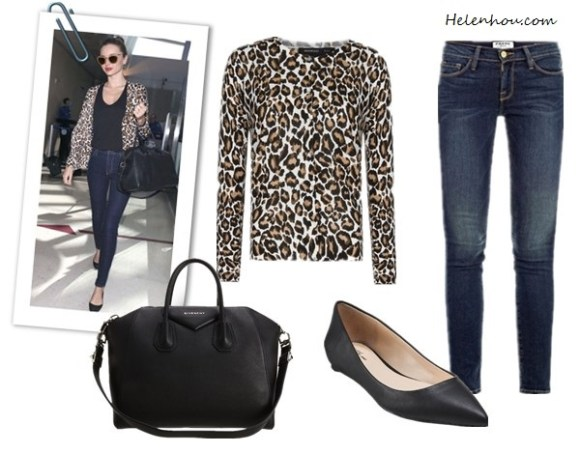 Miranda Kerr, Givenchy bag, Miu Miu sunglasses,Nobody Cult jeans,Givenchy black coat, givenchy pointy toe flats, Stella McCartney blazer,  mango leopard print cardigan,  Frame Denim Le Skinny Jeans ,  SplendidSplendid 1x1 Tank Top ,  Givenchy Antigona ,   Prabal Gurung for Target® Pointy-Toe Flat - Black, helenhou, helen hou, the art of accessorizing, accessoriseart, celebrity style, street style, lookbook, model off-duty,red carpet looks,red carpet looks for less, fashion, style, outfits, fashion guru, style guru, fashion stylist, what to wear, fashion expert, blogger, style blog, fashion blog,look of the day, celebrity look,celebrity outfit,designer shoes, designer cloth,designer handbag,