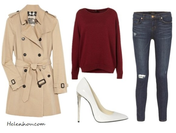 Blake Lively, burgundy Marios Schwab dress, Burberry coat,Bottega Veneta white pumps,Jennifer Meyer earrings, how to wear white shoes, what to wear with burgundy, Burberry London Double Breasted Cotton Trench,  Topshop Basic Curve Hem burgundy Sweater,  J Brand 811 Mid Rise distressed Skinny Jeans,  BALMAIN - 100MM WHITE PATENT LEATHER white PUMPS with metallic heels,  helenhou, helen hou, the art of accessorizing, accessoriseart, celebrity style, street style, lookbook, model off-duty,red carpet looks,red carpet looks for less, fashion, style, outfits, fashion guru, style guru, fashion stylist, what to wear, fashion expert, blogger, style blog, fashion blog,look of the day, celebrity look,celebrity outfit,designer shoes, designer cloth,designer handbag,