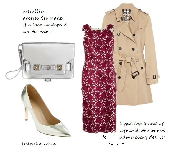 Blake Lively, burgundy Marios Schwab dress, Burberry coat,Bottega Veneta white pumps,Jennifer Meyer earrings, how to wear white shoes, what to wear with burgundy, J.Crew Collection appliquéd guipure burgundy lace dress,  Burberry London Double Breasted Cotton Trench, The PS11 mirrored leather wristlet clutch ,  J.Crew Everly mirror metallic pumps silver,   helenhou, helen hou, the art of accessorizing, accessoriseart, celebrity style, street style, lookbook, model off-duty,red carpet looks,red carpet looks for less, fashion, style, outfits, fashion guru, style guru, fashion stylist, what to wear, fashion expert, blogger, style blog, fashion blog,look of the day, celebrity look,celebrity outfit,designer shoes, designer cloth,designer handbag,
