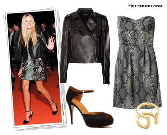 Anja Rubik, Gabriella Wilde, leather jacket, black and white,  Harlequin-print motocross-style skinny jeans, mint pumps, tweed bag, black top,  Gucci multicoloured python jacquard tunic dress,  black ankle strap  peep-toe   sandals,  how to style leather jacket, what to wear with bold print, how to wear colored shoes, how to wear ankle strap shoes, Rag & bone Langlen leather and sateen jacket ,  Rebecca TaylorPython Strapless Dress, Gucci 'betty' mid heel platform open-toe sandal with ankle strap , Gorjana Teagan Ring ,  helenhou, helen hou, the art of accessorizing, accessoriseart, celebrity style,   street style, lookbook, model off-duty,red carpet looks,red carpet looks for less,   fashion, style, outfits, fashion guru, style guru, fashion stylist, what to wear,   fashion expert, blogger, style blog, fashion blog,look of the day, celebrity   look,celebrity outfit,designer shoes, designer cloth,designer handbag,