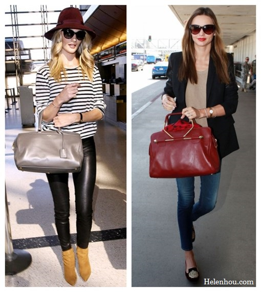 Miranda Kerr ,Rosie Huntington-Whiteley,airport style, Yves Saint Laurent duffel bag, Brian Atwoo ankle booties, VELVET X Lily Aldridge striped top, Chanel sunglasses, Helmut Lang Stretch-Leather Leggings, MCS Elena bracelet,  Longines watch, Frame Denim jeans, Ellery black blazer, Miu Miu Velvet Embroidered Slip-On loafer, Zoe & Morgan Si bracelet, Tom Ford cat eye sunglasses, Viktor & Rolf burgundy bag,what to wear on a plane, what to wear for summer vacation,  helenhou, helen hou, the art of accessorizing, accessoriseart, celebrity style, street style, lookbook, model off-duty,red carpet looks,red carpet looks for less, fashion, style, outfits, fashion guru, style guru, fashion stylist, what to wear, fashion expert, blogger, style blog, fashion blog,look of the day, celebrity look,celebrity outfit,designer shoes, designer cloth,designer handbag,