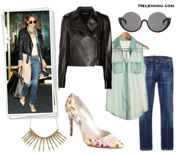 Nicole Richie, Alessandra Ambrosio,leather jacket, distressed jeans, Givenchy bag, Fendi 2Jours Calf Hair Tote Bag,colorblock bag,  stripe tee, retro sunglasses, printed pumps, ankle booties, sheer blouse,House Of Harlow 1960 Dreamer Sunglasses in Black,House of Harlow 1960 Nomadic Warrior Arrow Necklace,Gorjana Taner necklace, Christian Louboutin ankle booties, Wildfox The Classic Fox Sunglasses in Tortoise,Givenchy Large Pandora Messenger,how to wear leather jacket,   Rag & Bone leather jacket,  ModCloth Errand on the Side of Style Top sheer blouse,  Citizens of HumanityCitizens of Humanity Dylan Boyfriend Jeans,  Charles by Charles David 'Pact' floral printed Pumps,  helenhou, helen hou, the art of accessorizing, accessoriseart, celebrity style, street style, lookbook, model off-duty,red carpet looks,red carpet looks for less, fashion, style, outfits, fashion guru, style guru, fashion stylist, what to wear, fashion expert, blogger, style blog, fashion blog,look of the day, celebrity look,celebrity outfit,designer shoes, designer cloth,designer handbag,